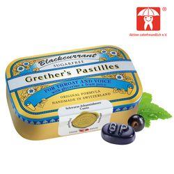 Grethers Blackcurrant Silber zuckerfreie Pastillen