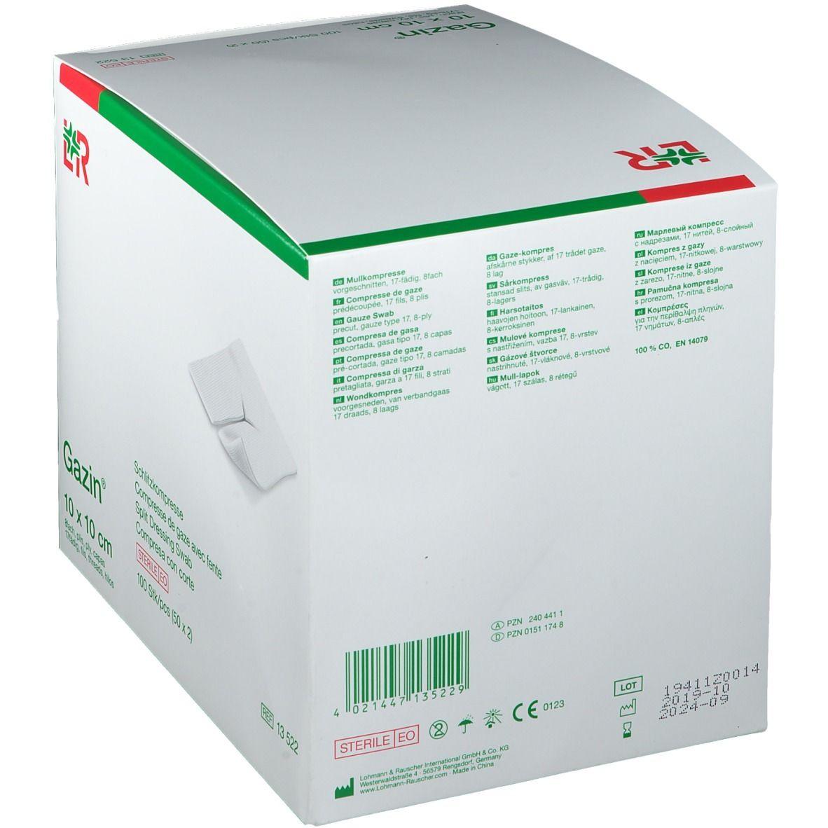 Gazin® Schlitzkompresse 10 cm x 10 cm steril 8 lagig
