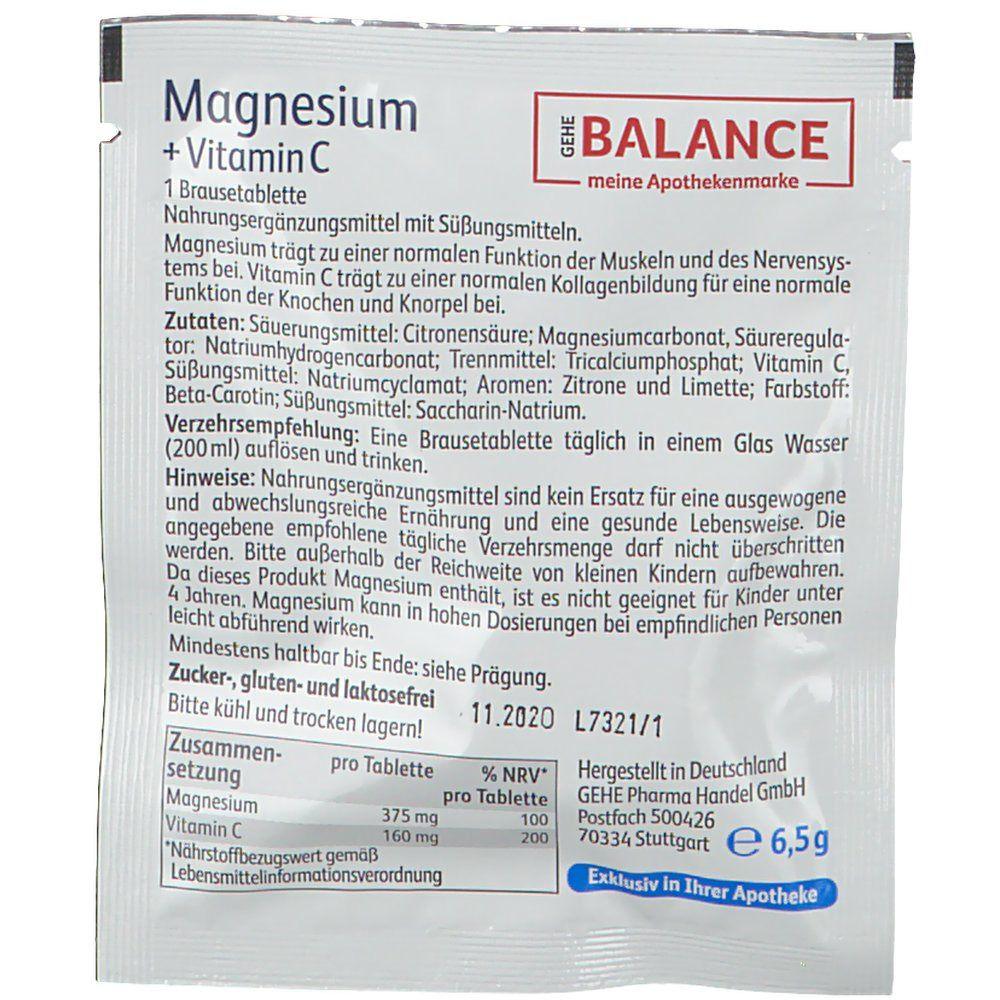 GEHE Balance Magnesium + Vitamin C 375 mg Zitronengeschmack
