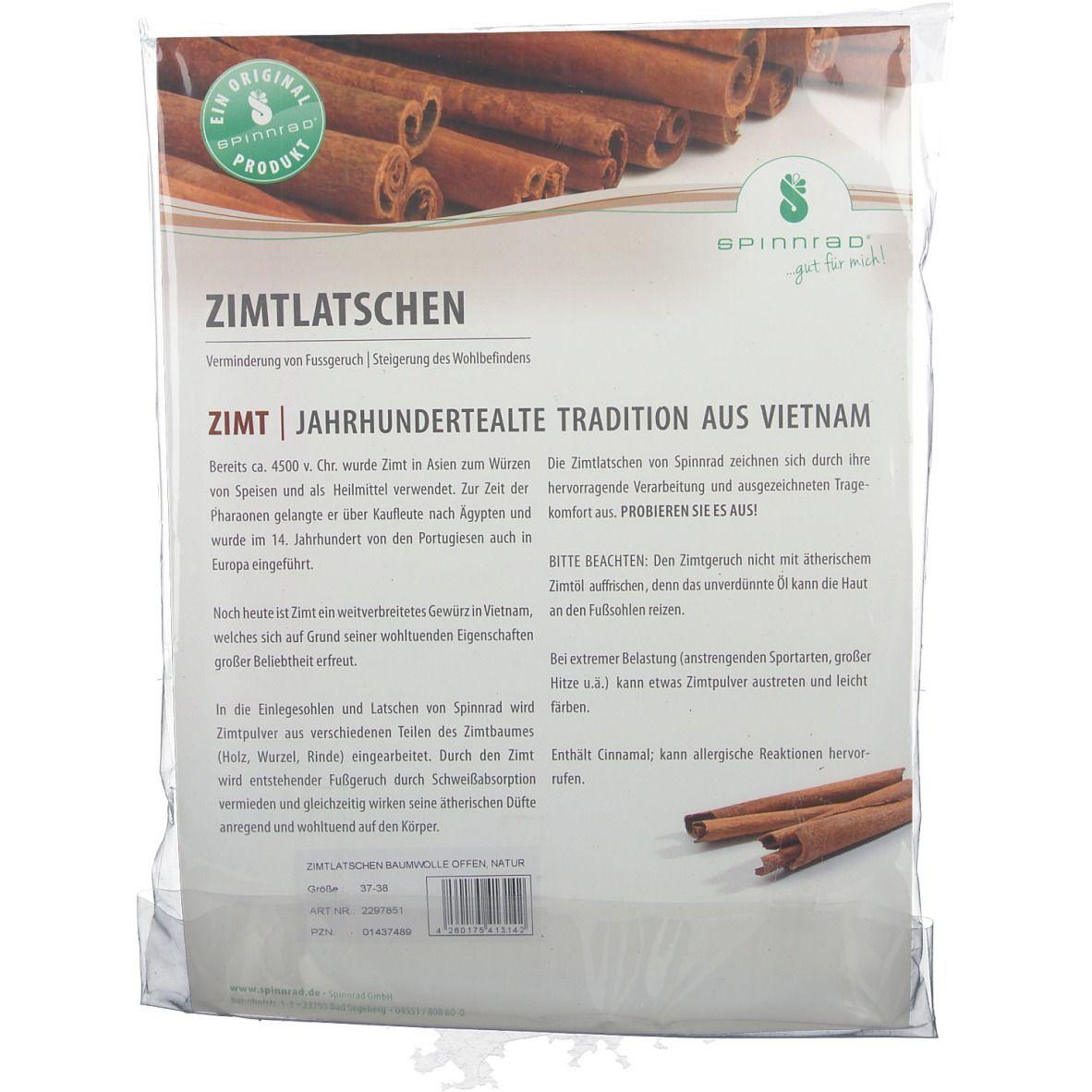 Spinnrad® Zimtlatschen Baumwolle offen Größe 37 / 38